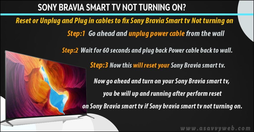 power reset sony bravia smart tv