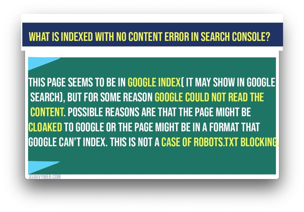 What is indexed with No content error in search console?