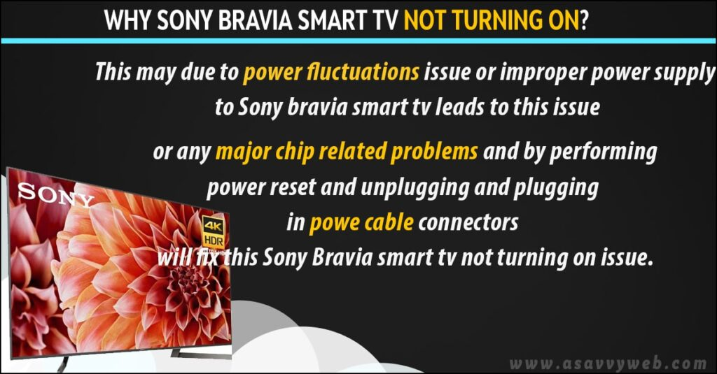 Why sony bravia tv not turning on?