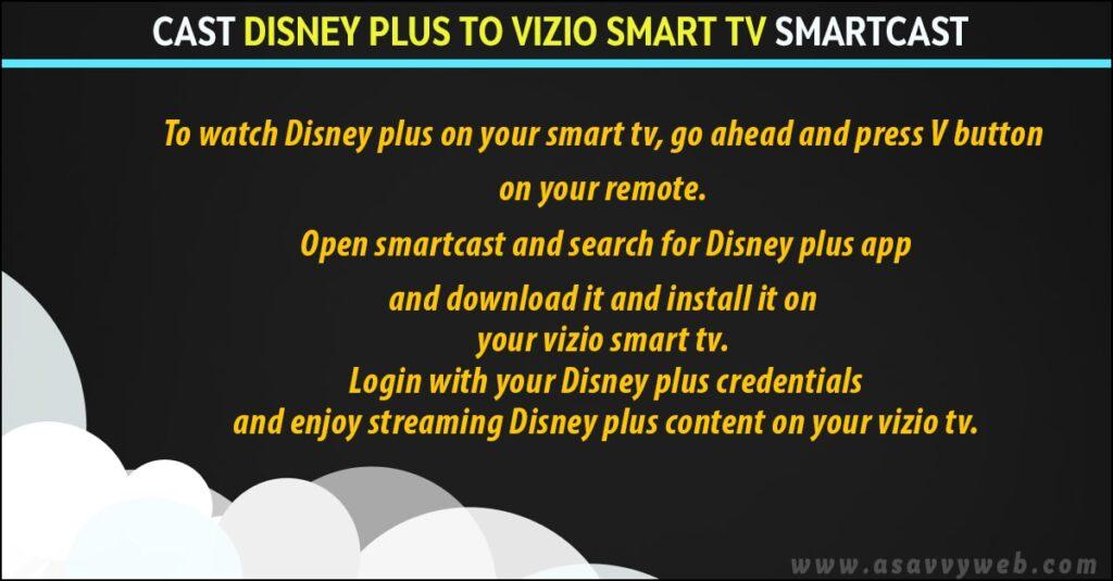 screen mirror or cast disney plus on vizio smart tv