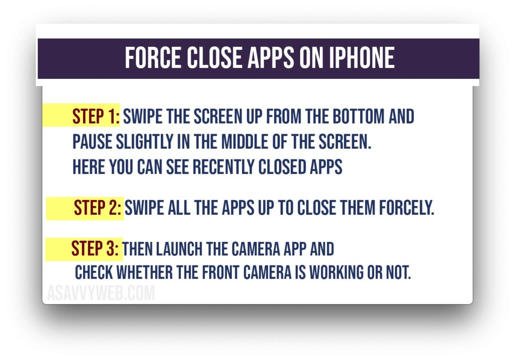 force close apps to fix front camera not working on iPhone
