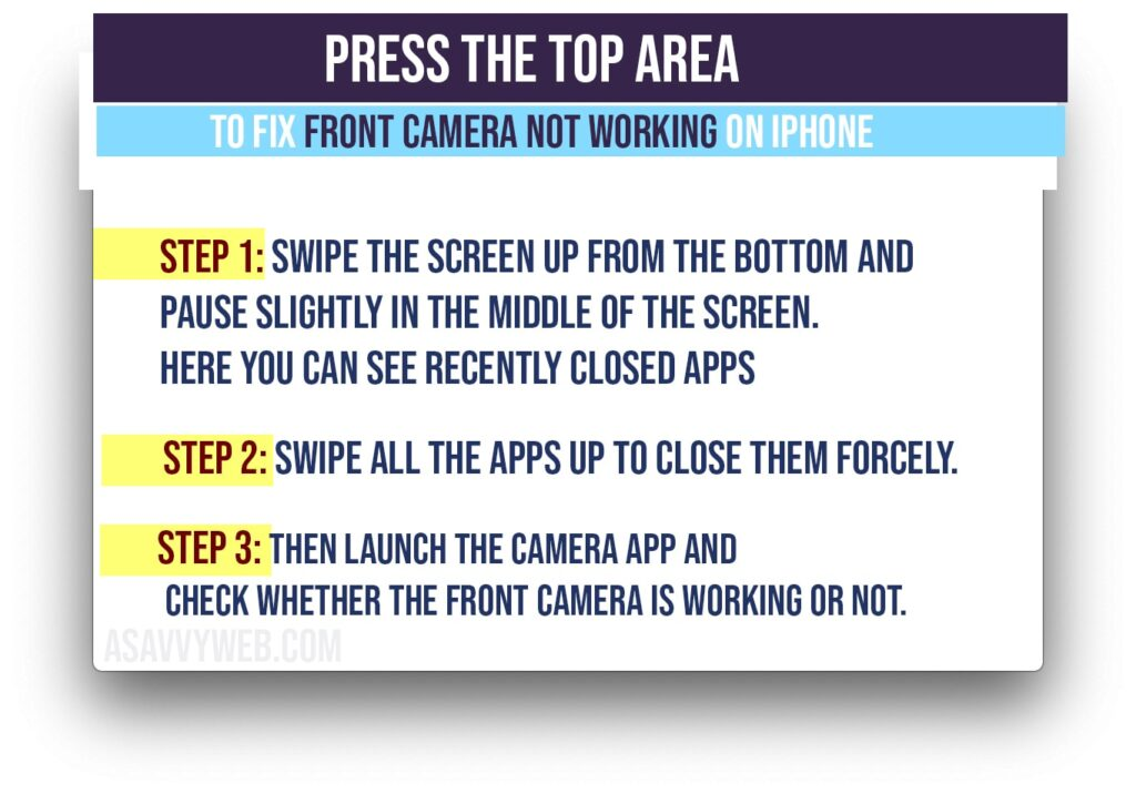 press top area to fix front camera not working on iPhone