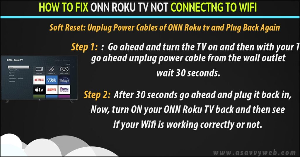 fix onn roku tv not connecting to wifi