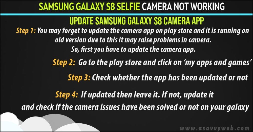 updateyour samsung s7 selfie camera not working