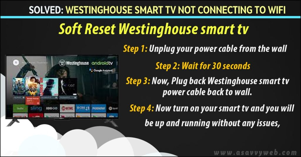 soft reset westinghouse smarttv if not connecting to wifi
