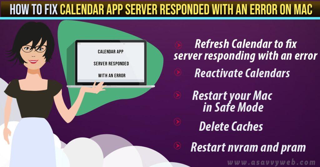Calendar App Server Responded With an Error On Mac