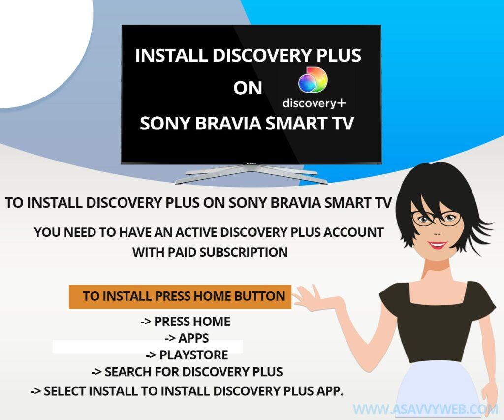 Install Discovery plus on Sony Bravia Tv