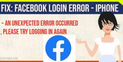 facebook login error on iPhones
