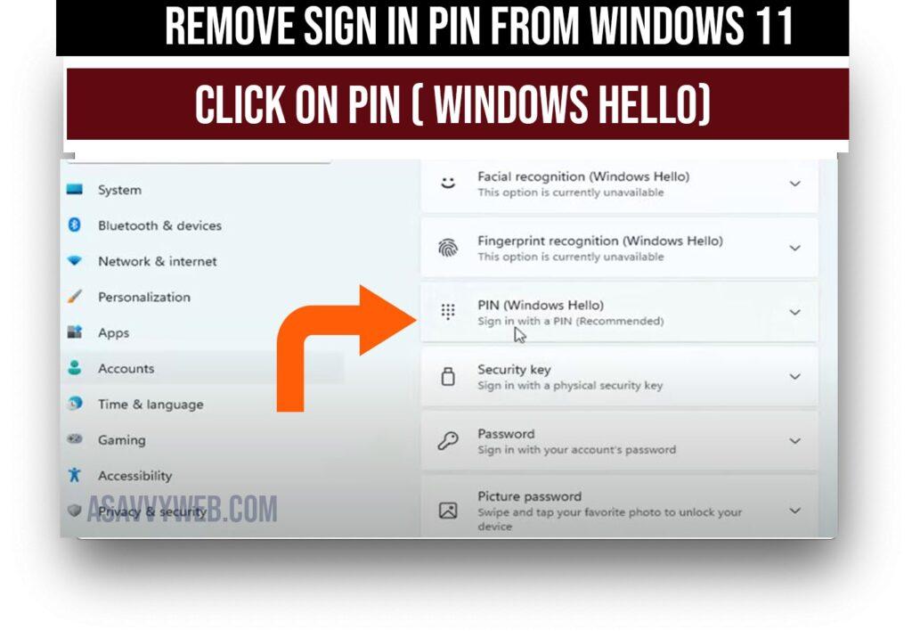 click on pin windows 11 hello
