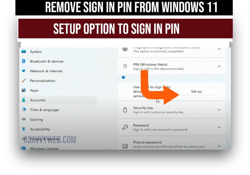 setup sign in option to set windows 11 pin