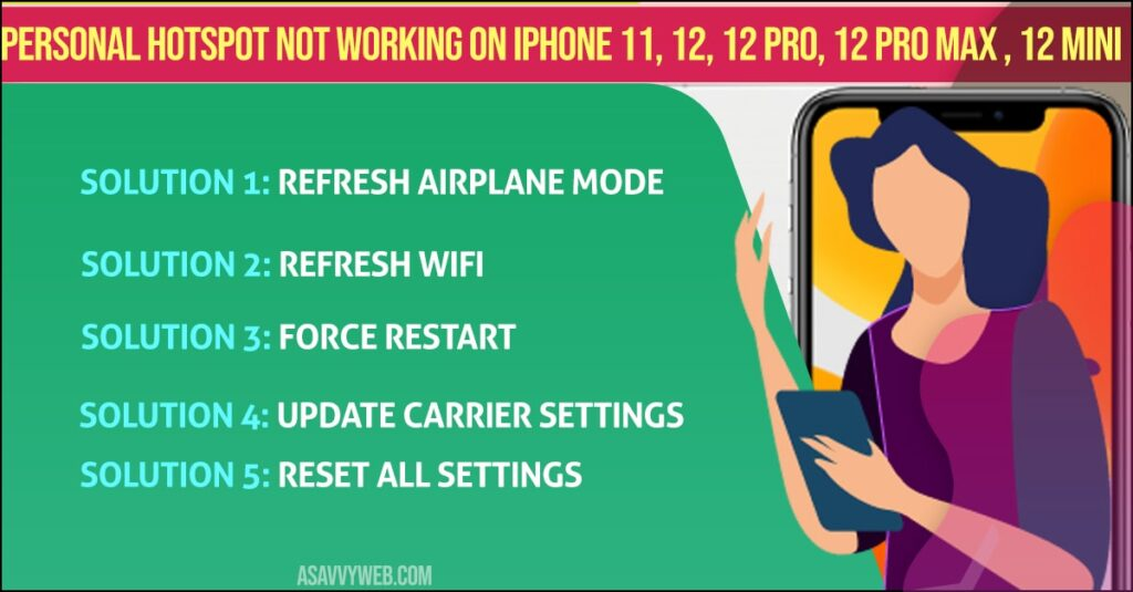 Personal hotspot not working on iPhone 11, 12, 12 pro, 12 pro max , 12 mini