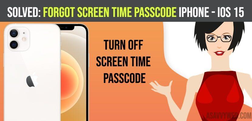 Forgot Screen Time Passcode iPhone